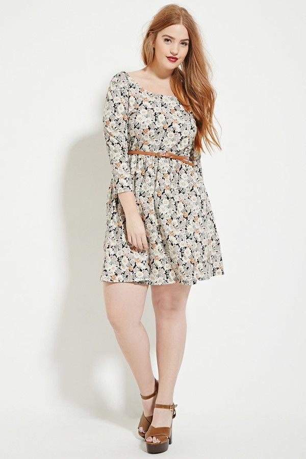 FOREVER 21+ Plus Size Floral Skater Dress | Cute & Curvy in ...