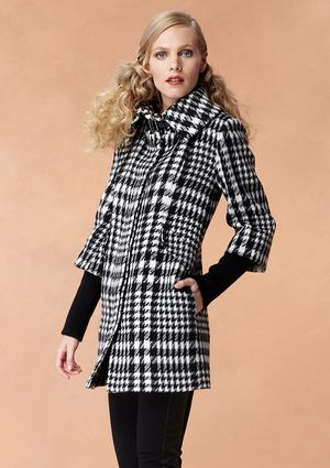 COLE HAAN Single-Breasted Plaid Coat