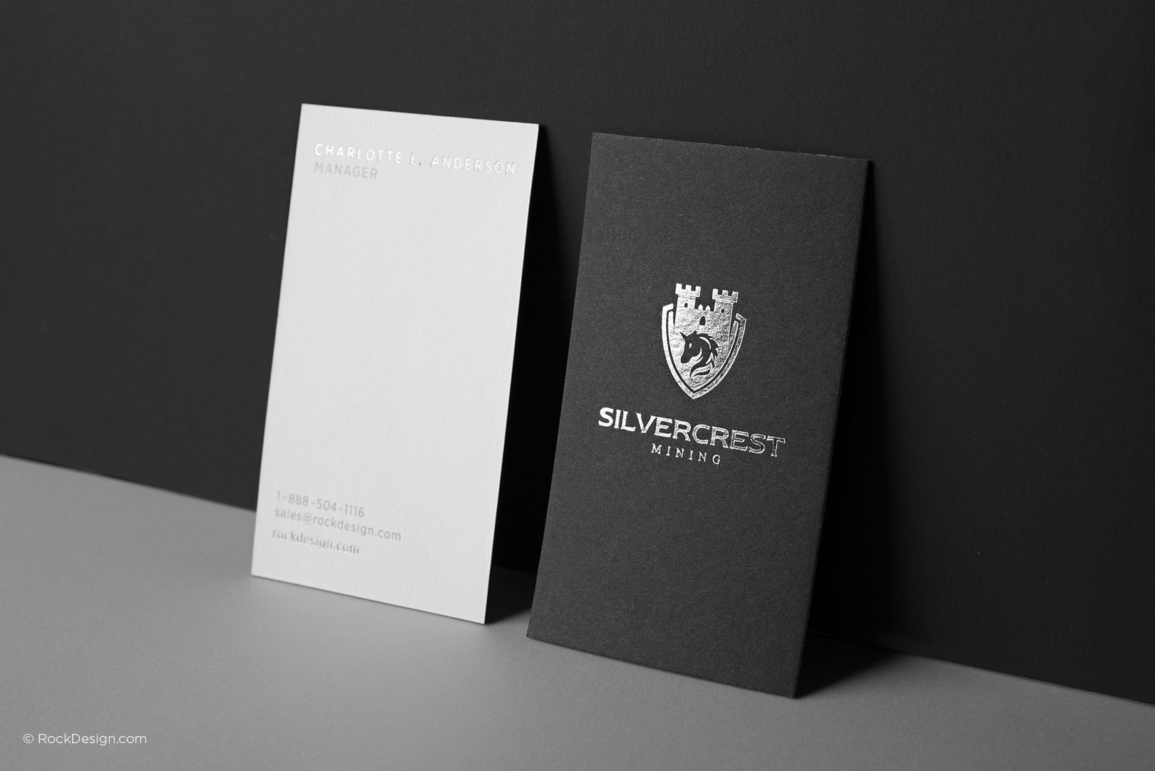Contemporary Black And White Duplex Business Card With Silver Foil Silvercrest Premium Business Cards Printing Business Cards Free Business Card Templates