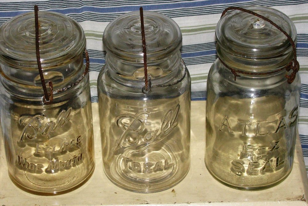 3 Clear Quart Jars 1 Atlas, 2 Masons, Wire Glass Lids