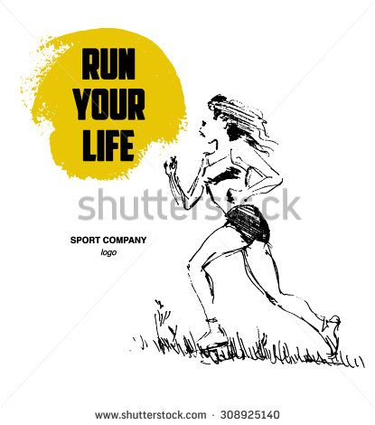 Hand drawn black stroked sketch of running human figure on white background good for sport poster or placard stock photo