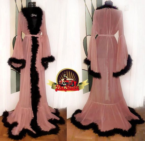 daf9681628 Pink Robe with Fluffy Black Feathers, Black Marabou Feather Dressing ...