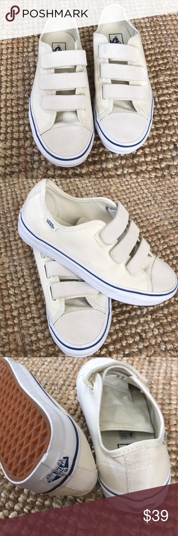 Velcro white canvas sneakers
