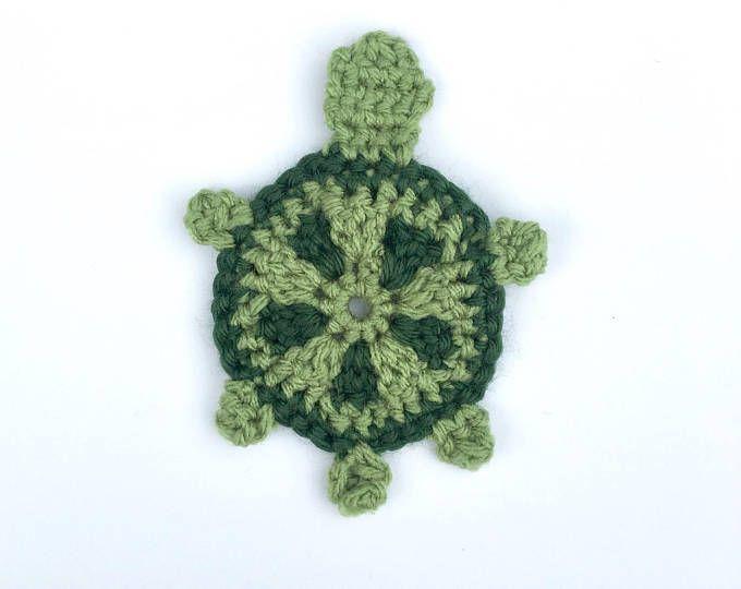 8 Crochet Turtle Appliques 8 Colors A125 #crochetturtles