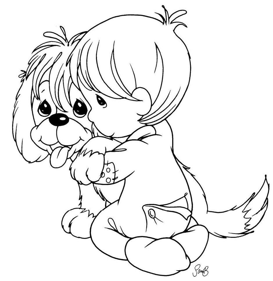 a boy and his dog coloring pages - photo #31