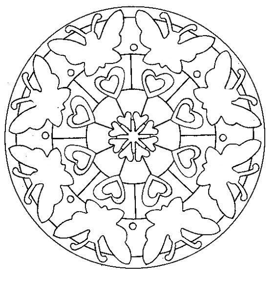 Coloriage d\'un mandala indien : rosace aux papillons | Coloriage de ...