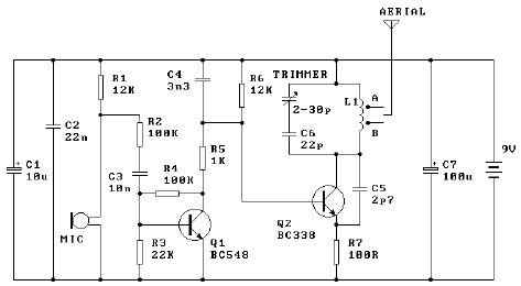 Low-Cost 9V FM Transmitter | Electronic Circuit Diagrams | Pinterest ...
