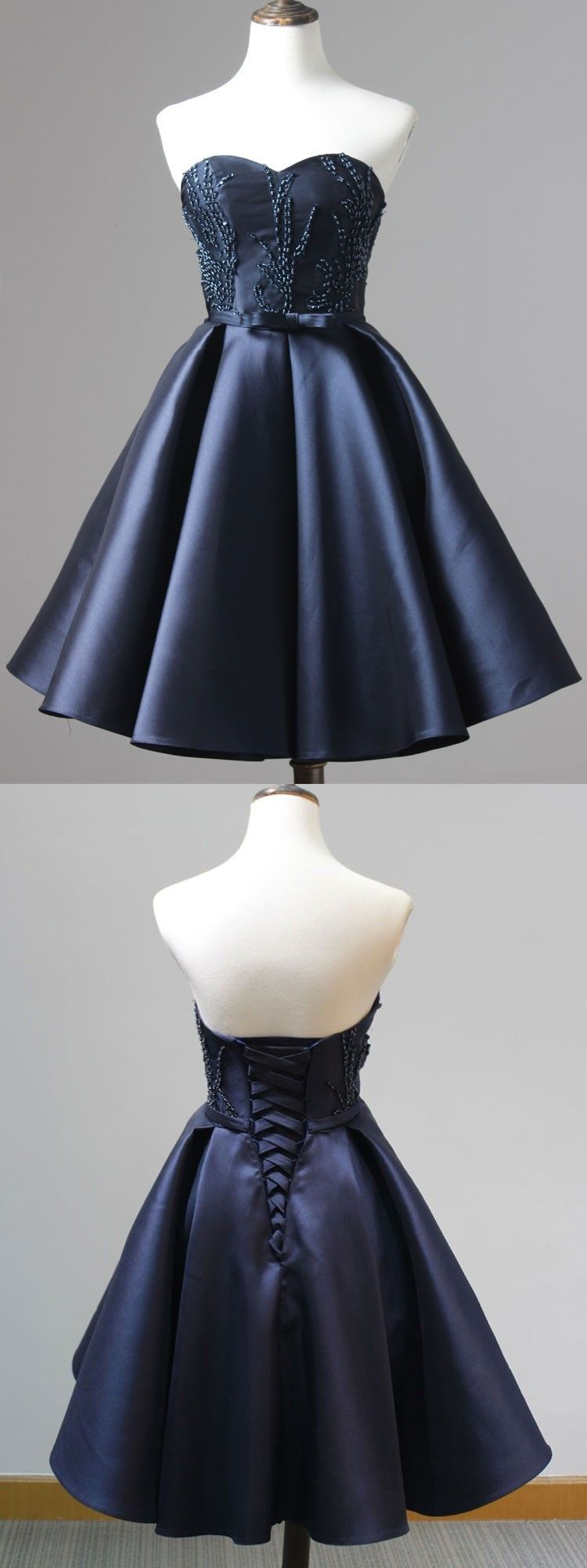 Fashion navy blue homecoming dress short sweetheart prom dress with