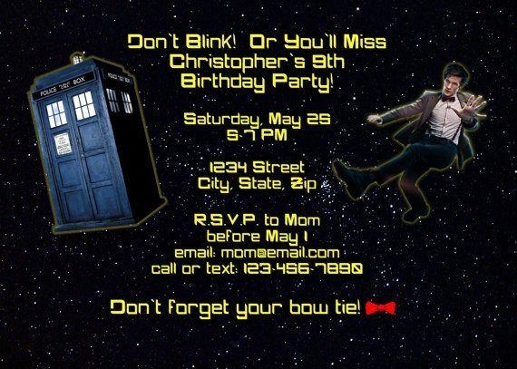 Free FREE Template Doctor Who Birthday Party Invitations Baby - free template for party invitation