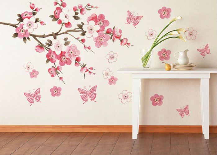 Beautiful Pink Flowers Butterfly Bathroom Decor Removable Large Wall Stickers  Princess Love Room Decoration Wall Art Poster Part 32