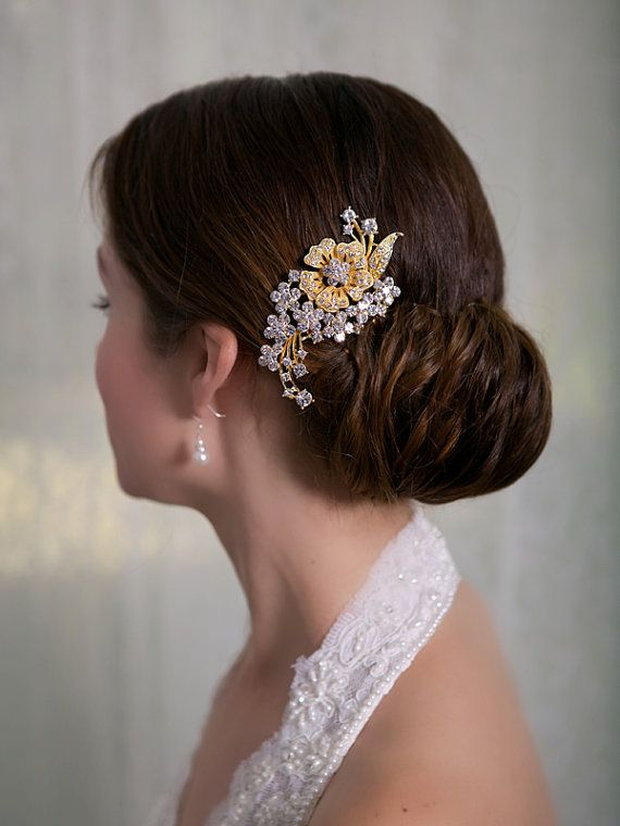 gold crystal hair comb rhinestone bridal hair comb vintage hair brooch wedding jewel comb classic wedding hair accessories ready to ship