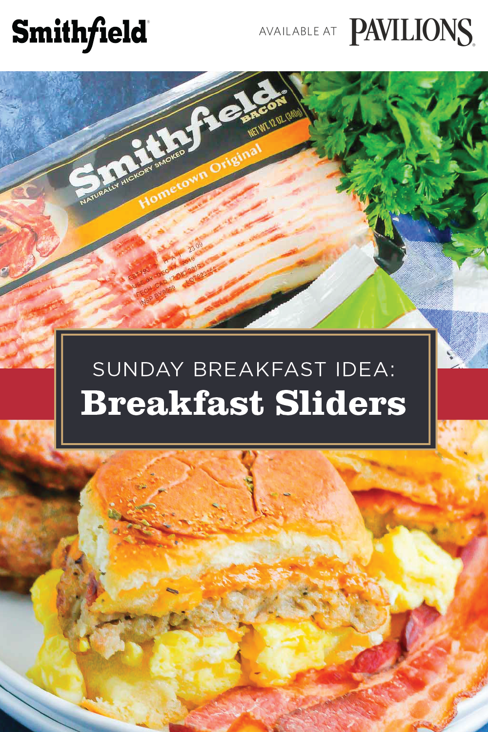 Need a quick and easy breakfast hack? Try these make-ahead breakfast sliders! Start with Hawaiian slider rolls, then top with cheesy eggs, premium quality Smithfield® Bacon, and Smithfield® Fully Cooked Breakfast Patties. Made with premium quality meat, these versatile breakfast patties are perfect for big brunches or one-the-go sandwiches. Click to learn more. #breakfastslidershawaiianrolls