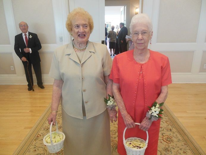 Flower girls come in all ages. These two were the grandmothers of the bride and were 88 and 90 years of age.