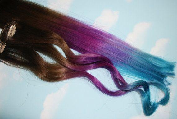 purple blue tie dye tips