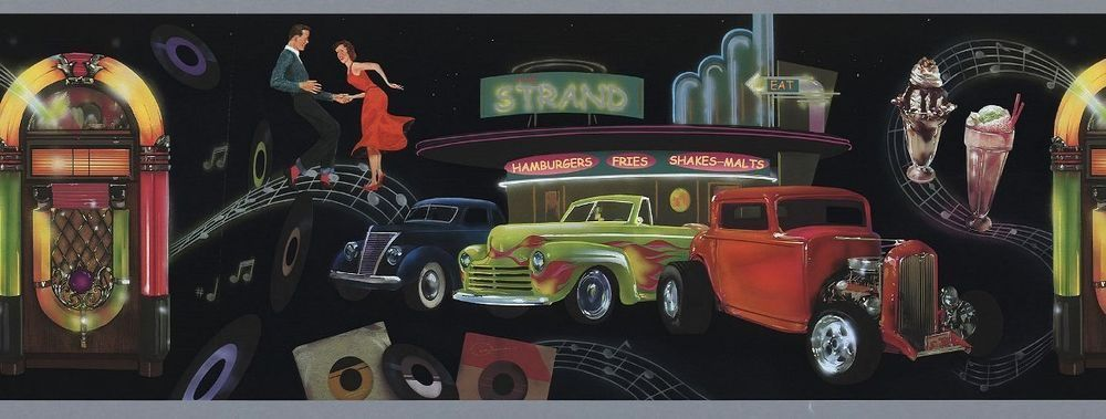 1 Roll 15 Ft Retro 1950 S Diner Wallpaper Border Cars Jukebox Brewster Wallpaper Border Diner Wallpaper Diner