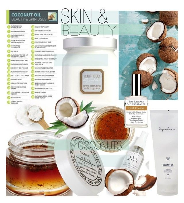 """SKIN & BEAUTY COCONUTS"" by cutandpaste ❤ liked on Polyvore featuring beauty, Laura Mercier, Herbivore and EARTH TU FACE"