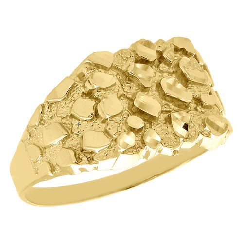 Real 10k Yellow Gold Men S Nugget Style Pinky Ring Custom Fancy Band 12 75mm Pinky Ring Bridal Ring Set Fashion Rings