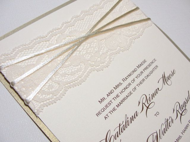 CARMEN Real Lace Wedding Invitationation 56250 Via Etsy