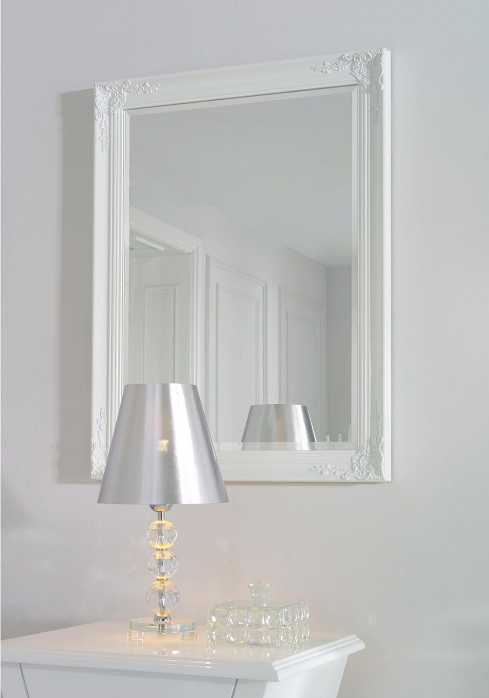 Spiegel, Wandspiegel mit weißem Rahmen  Weißer rahmen, Spiegel