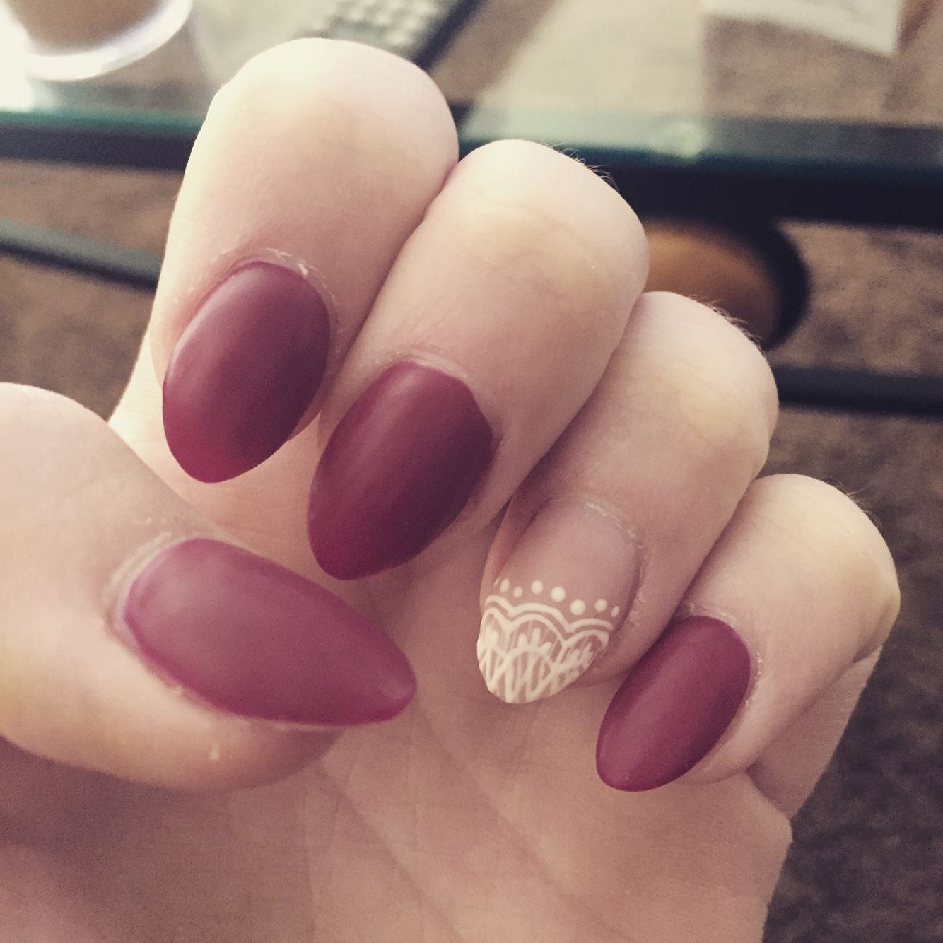Matte Lace nails #Matte #FallNails #Lace