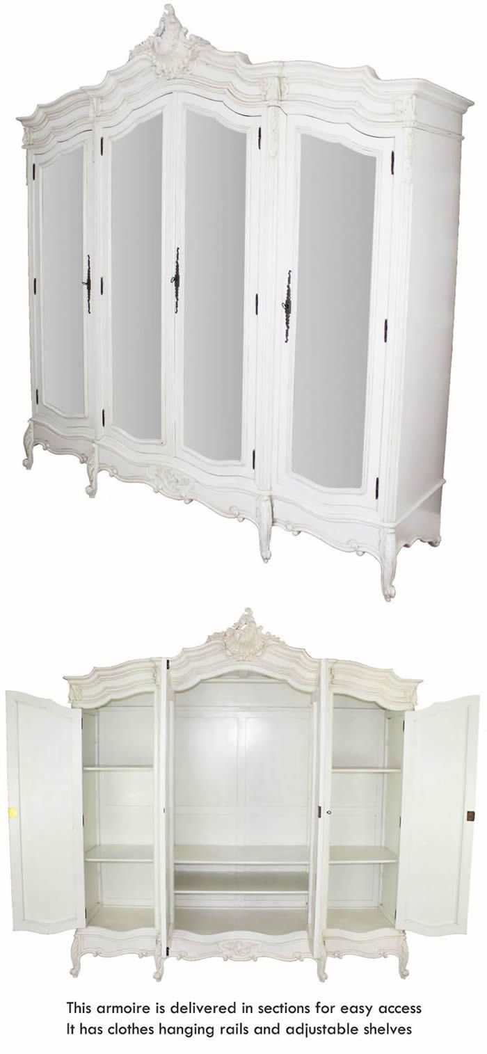 French Chateau White Painted 4 Door Mirrored Armoire Decor