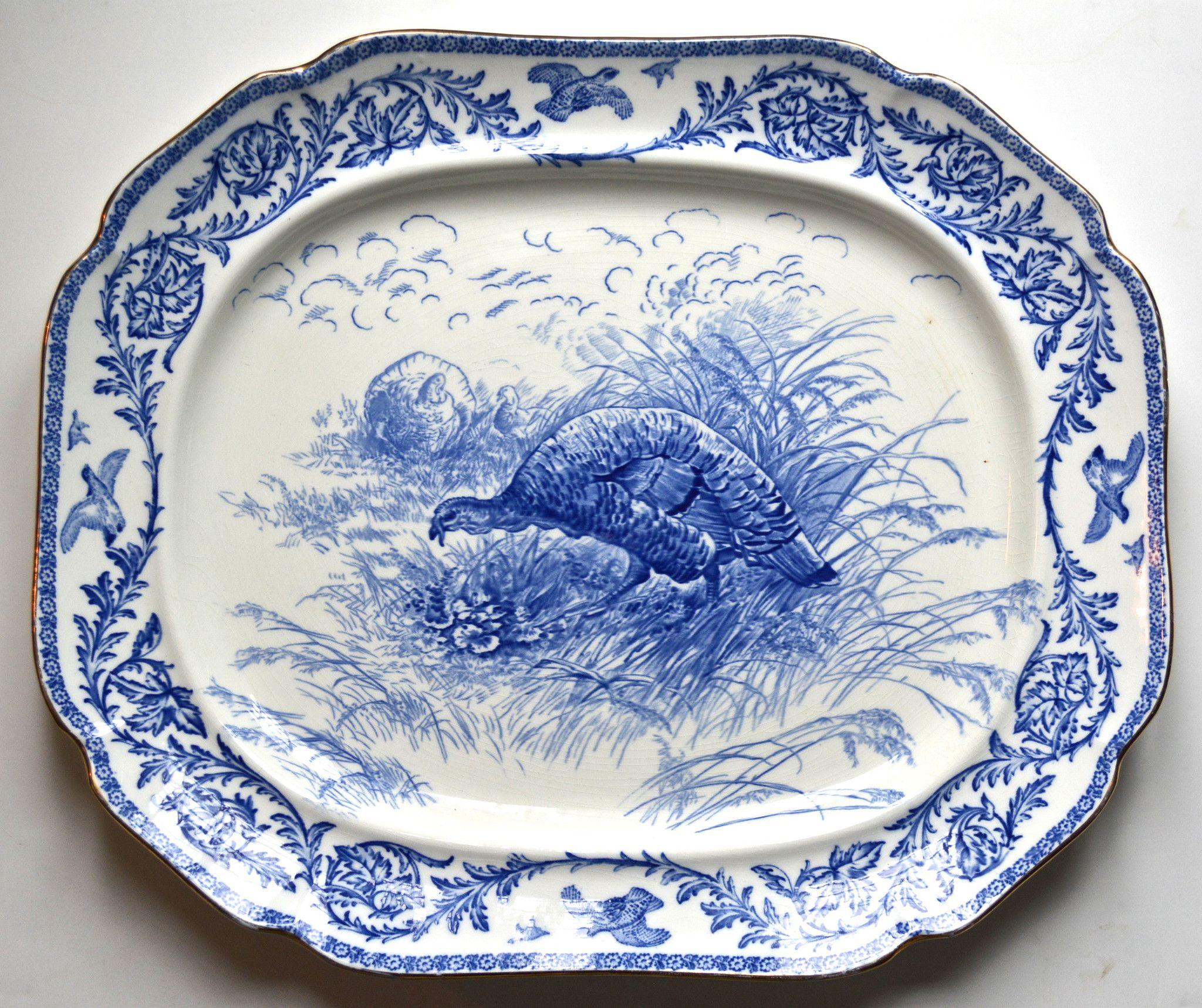 Antique Blue Transferware Staffordshire Thanksgiving Turkey Platter #flowblue #nancysdailydish #transferware #turkey #platter #thanksgiving #blueandwhite #staffordshire
