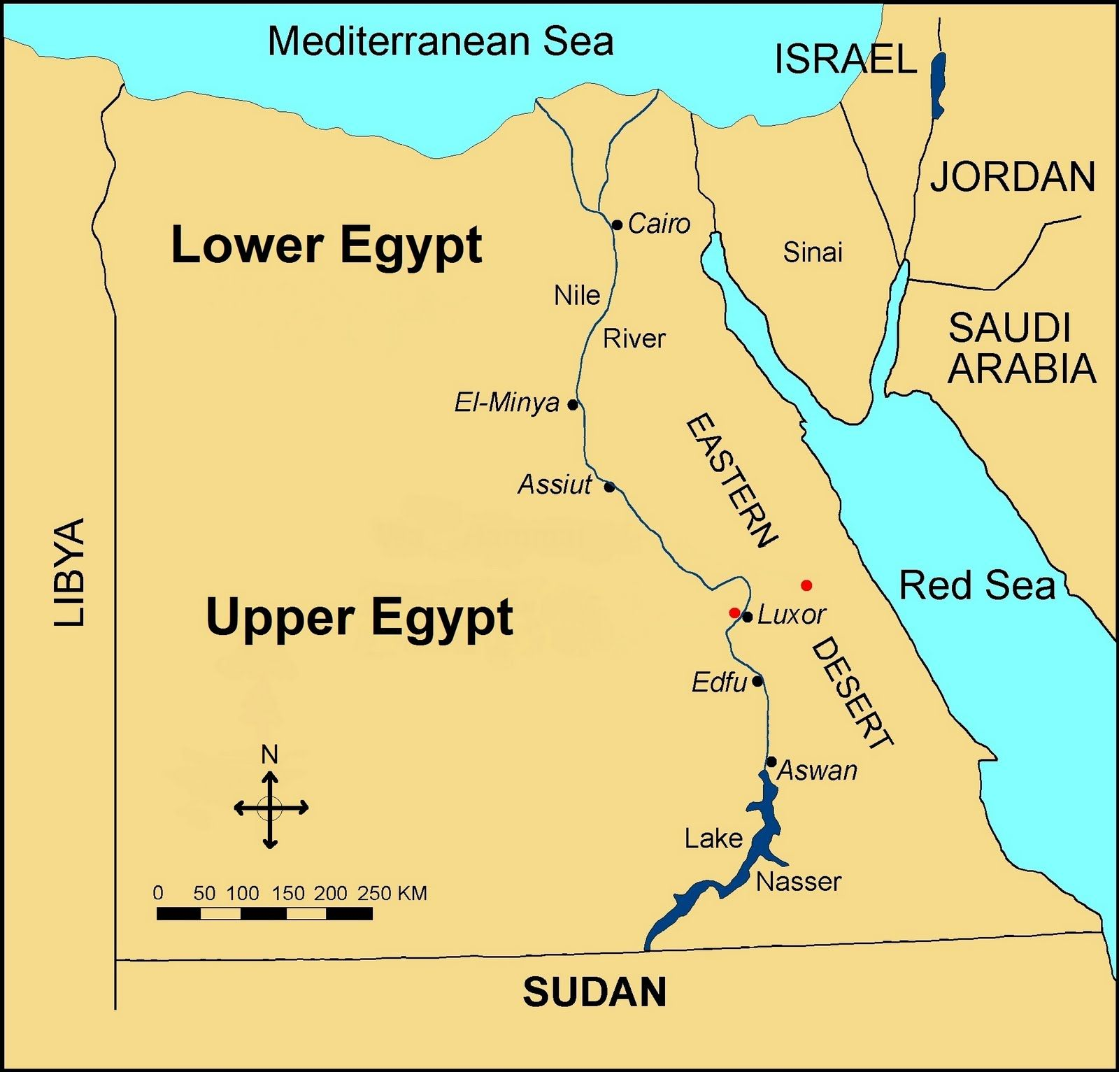 Ancient Egypt was divided into two regions: Upper and Lower Egypt