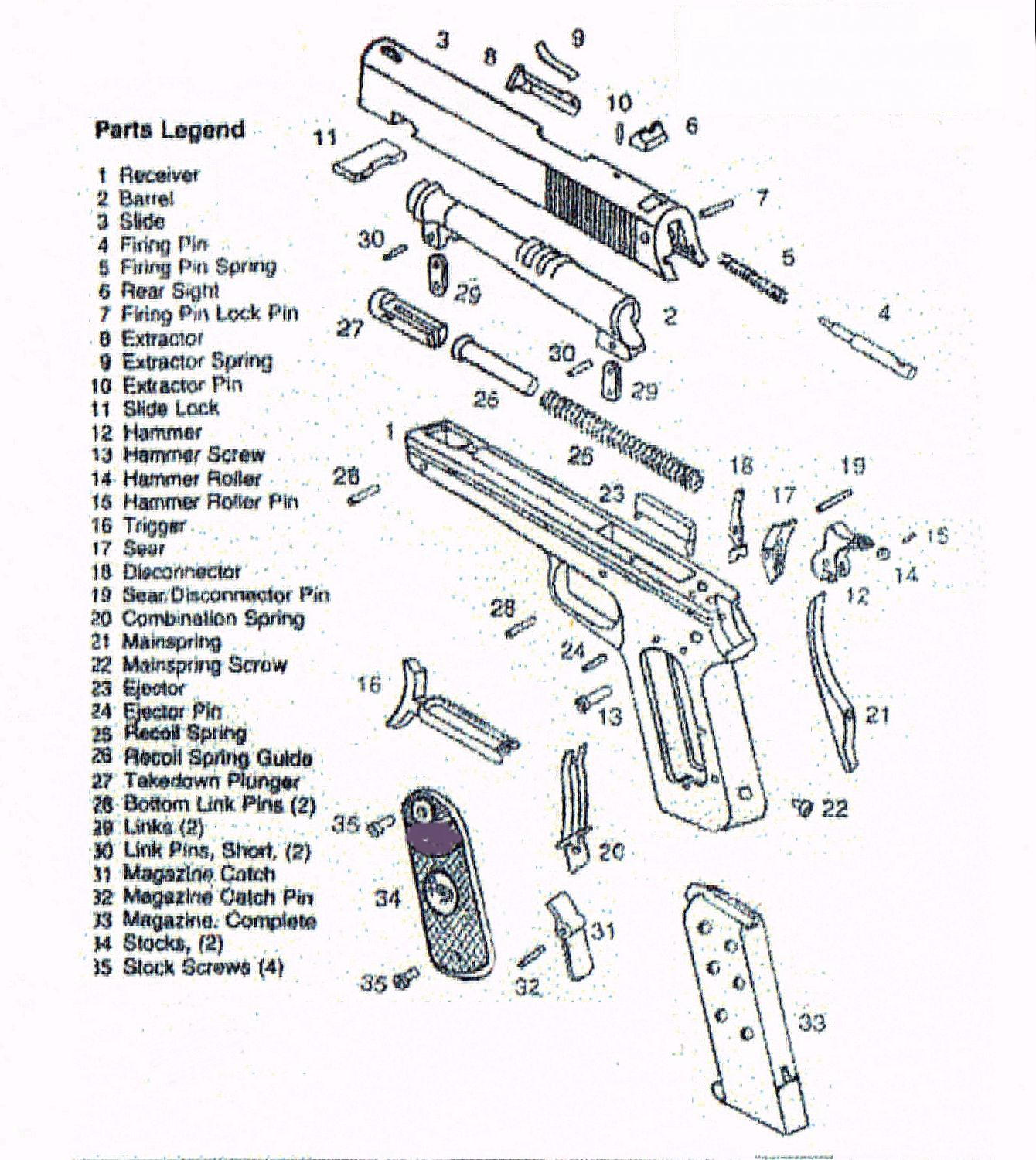 Glock 26 Parts Diagram 1994 Jeep Grand Cherokee Limited Stereo Wiring Pistola Browning Mod 1903 Guerre Fn Origen Herstal