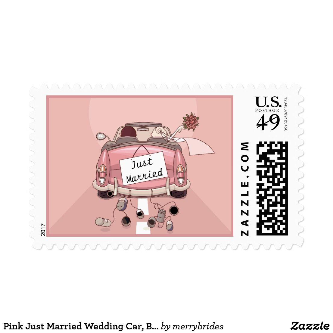 Pink Just Married Wedding Car, Bride & Groom Postage | Wedding cars