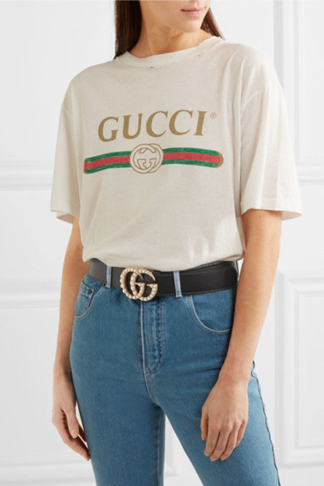 3f707f8a4 Meet The Bloggers Who Have Taken Twinning To The Next Level - $650 Gucci  Black Leather Belt With Pearl Gold Double G Buckle And Gucci Logo White Tee
