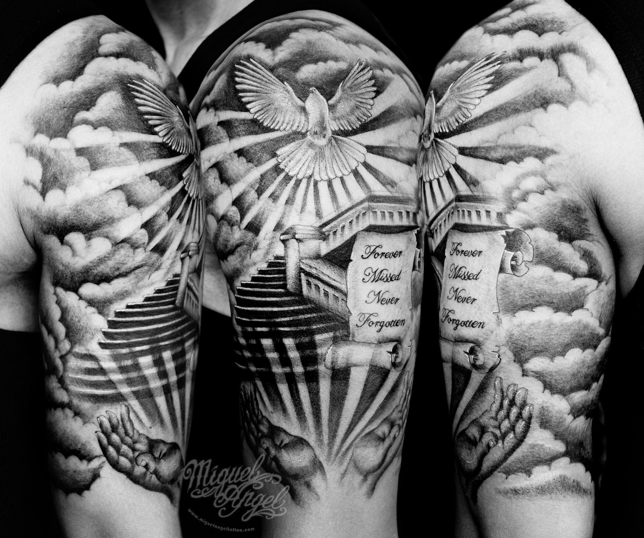 Stairs To Heaven Scroll Hands And Dove Custom Tattoo Sky Tattoos Half Sleeve Tattoos For Guys Heaven Tattoos