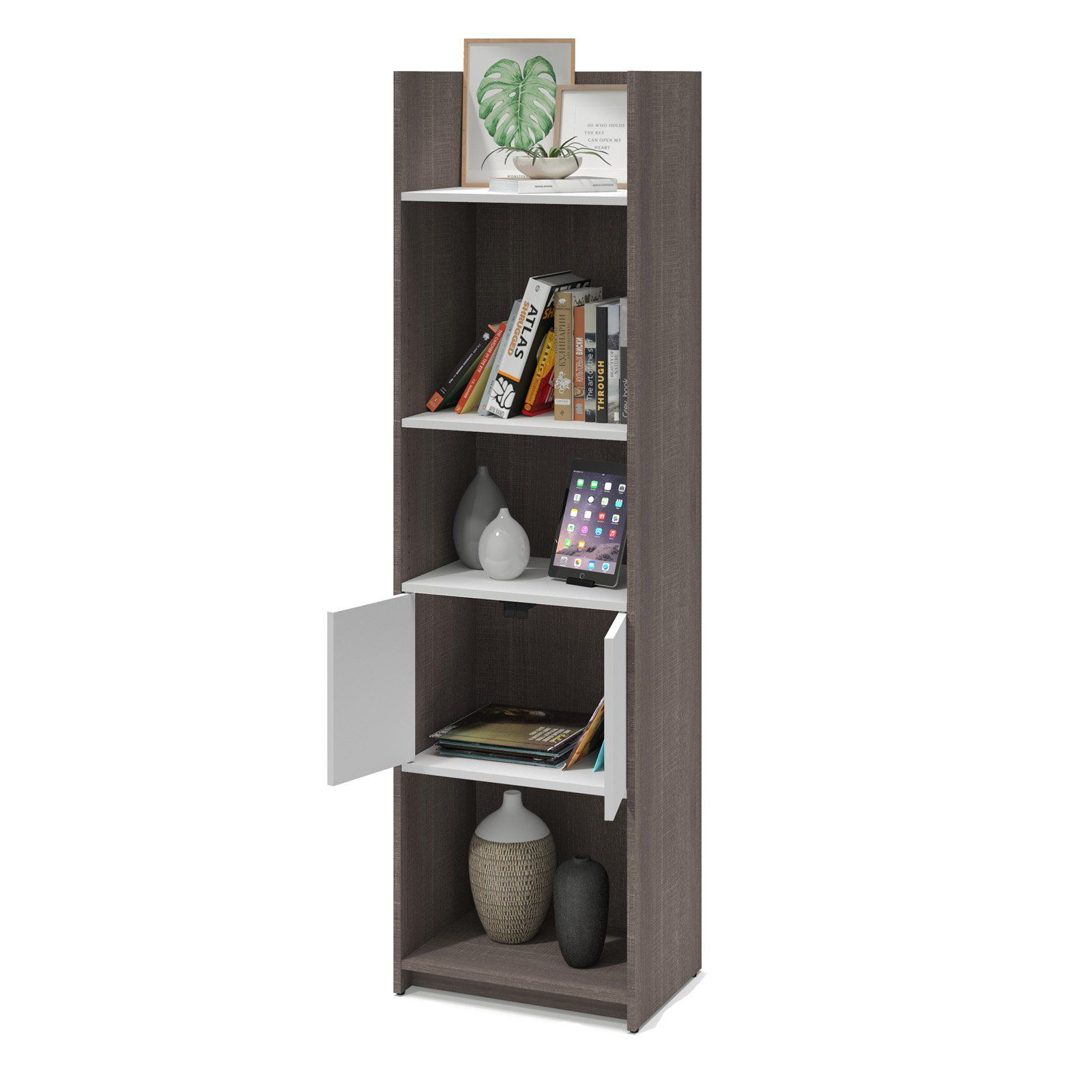 low priced dbf4e 918a6 Bestar Small Space Bookcase Bark Gray / White   Products in ...