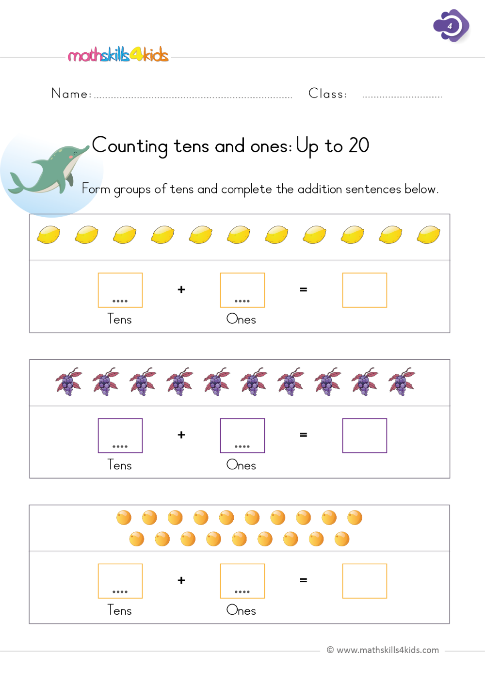 Counting tens and ones - First Grade Math Worksheets   1st grade worksheets [ 1413 x 1000 Pixel ]
