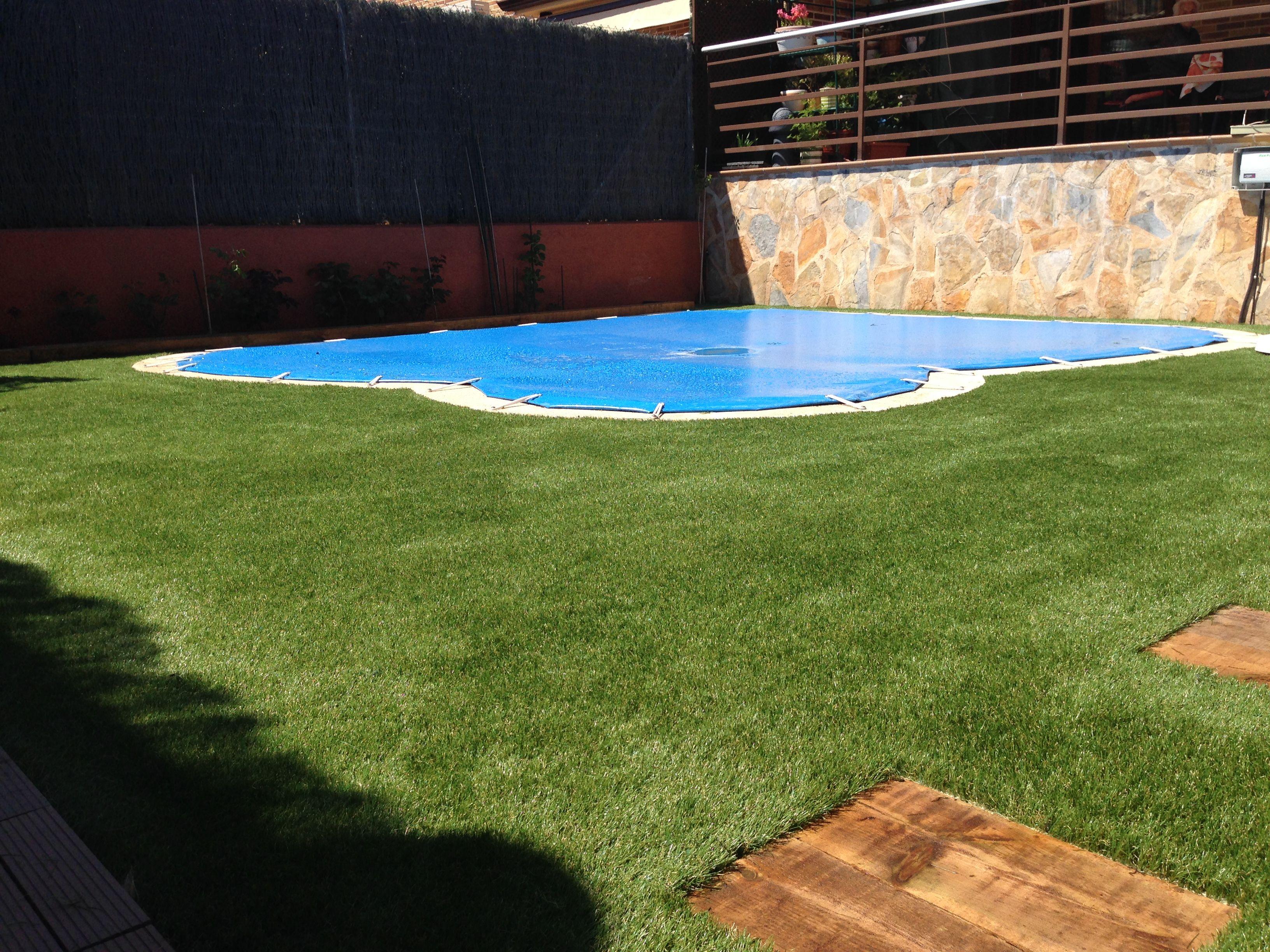 Jard n con el c sped artificial diversso alrededor de - Cesped artificial jardineria ...