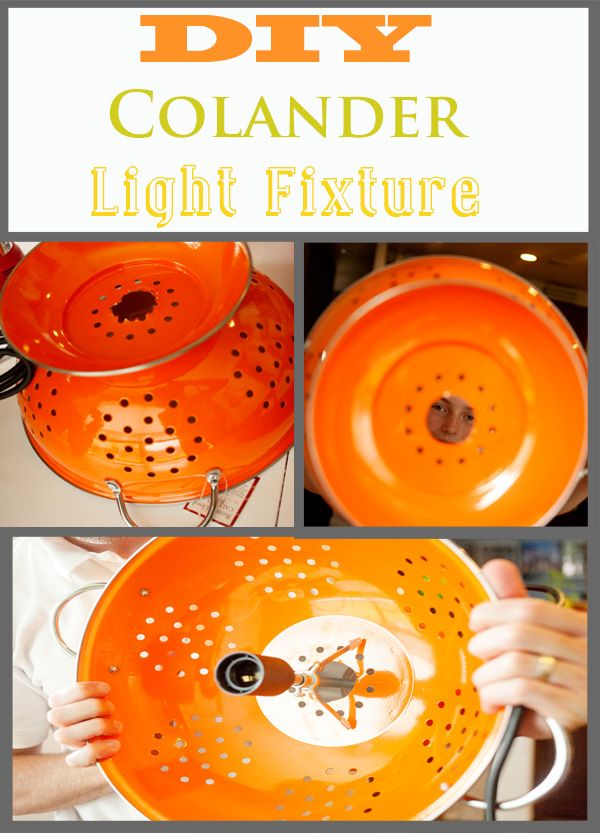 DIY colander light fixture #chandelier www.KristenDuke.com lighting