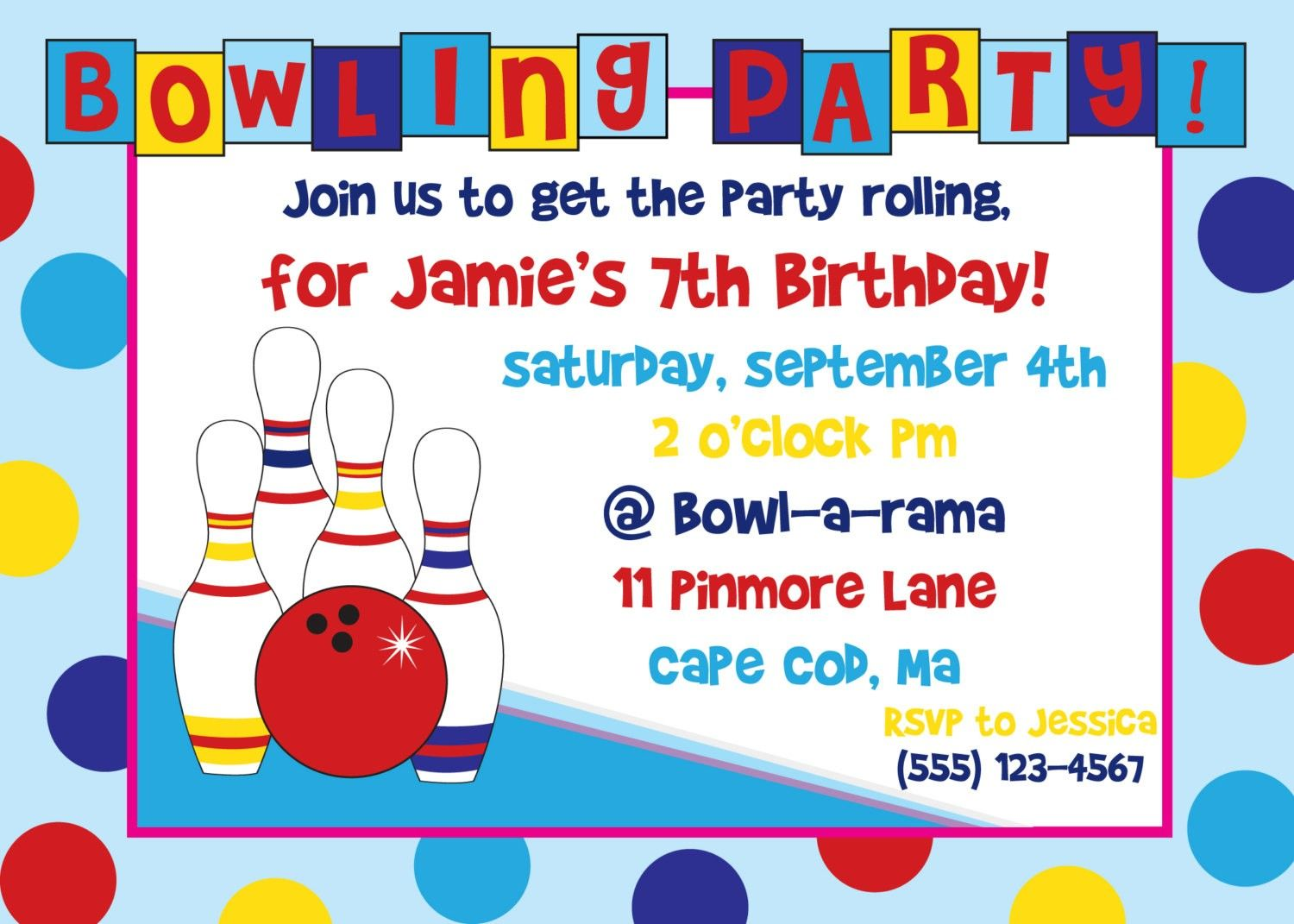 Free Bowling Birthday Party Invitation Templates | Party Plannin ...