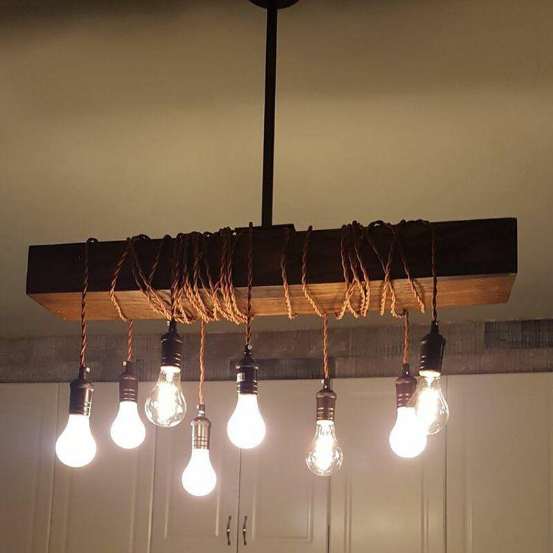 Belz 8 Light Kitchen Island Bulb Pendant Cluster Pendant Lighting Wood Pendant Light Diy Pendant Light