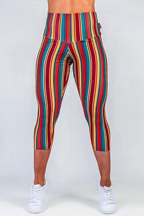 LIMITED Performance High Waisted Capri Leggings - Stripe ...