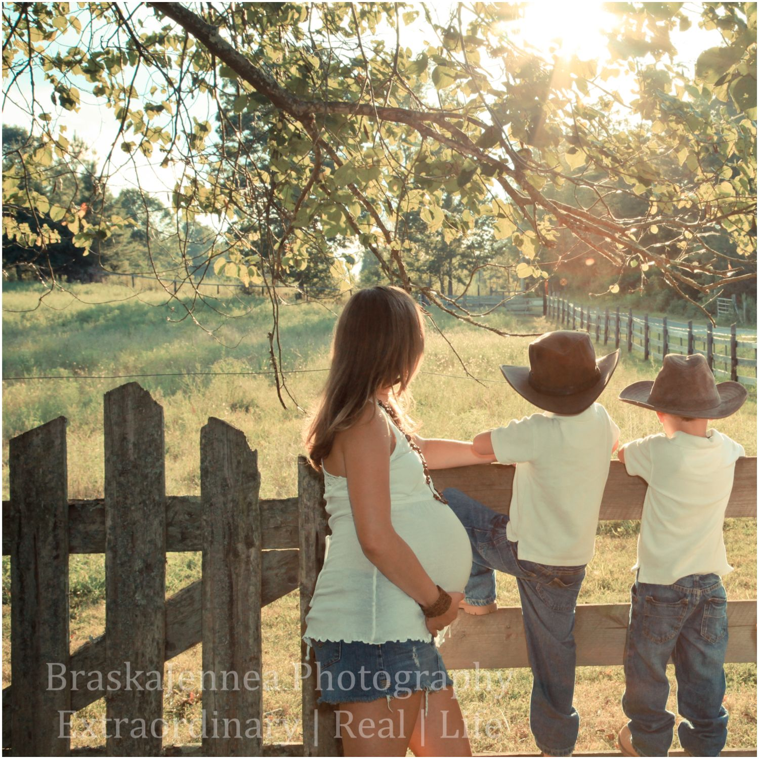 Maternity and family session.  Sunset and little boys in cowboy hats are just timeless!
