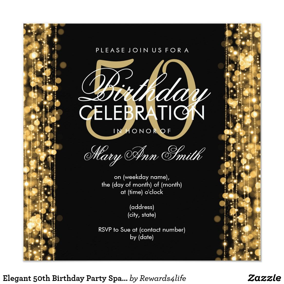 Elegant 50th Birthday Party Sparkles Gold Card | Birthday: 50 Years ...