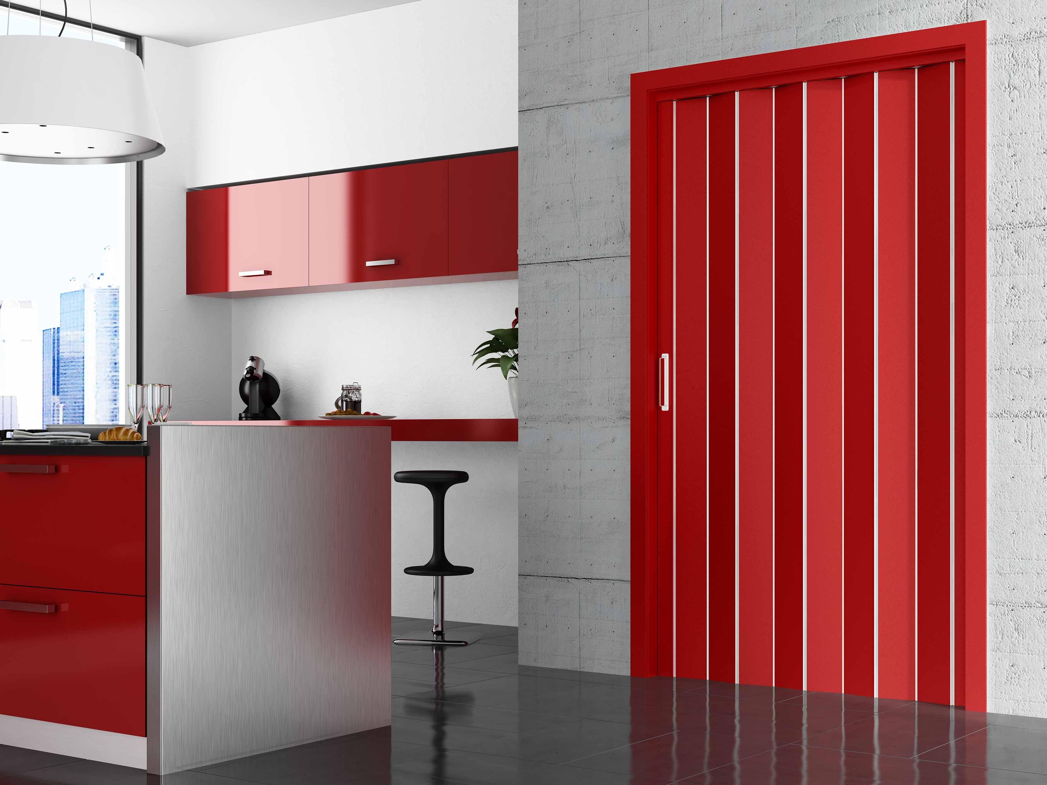 Puerta plegable lacada en color rojo puertas plegables pinterest doors patio y my design - Puertas tipo fuelle ...