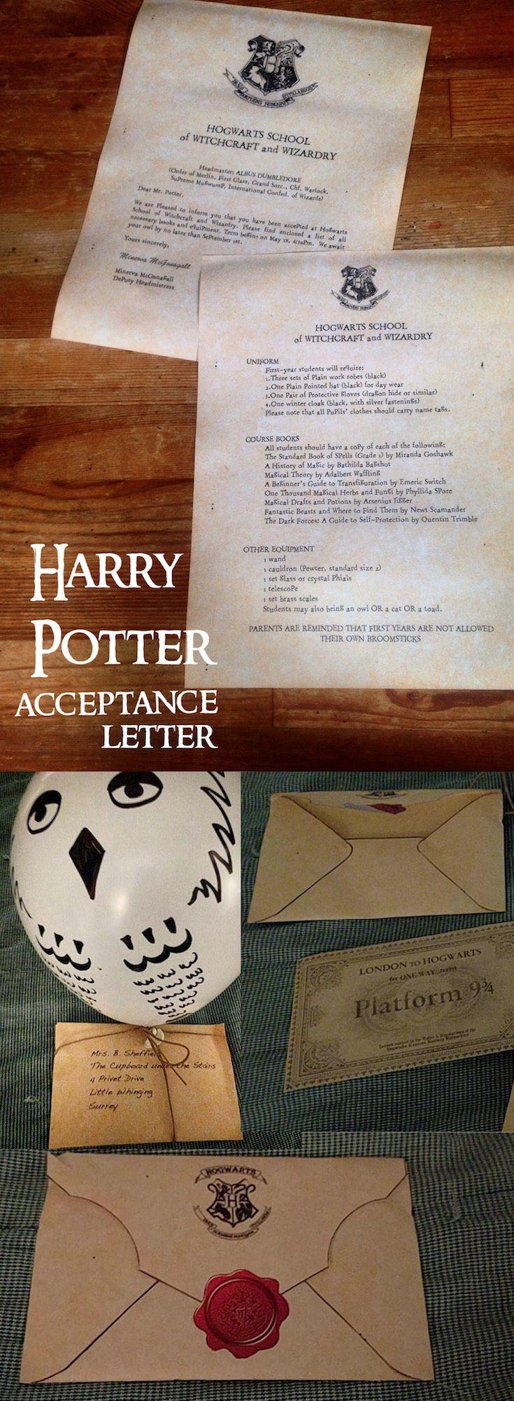 Harry Potter Hogwarts Acceptance Letter  Harry Potter Hogwarts