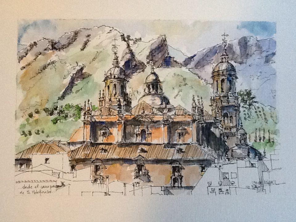 Catedral de Jaén . Acuarela José Miguel de la Torre