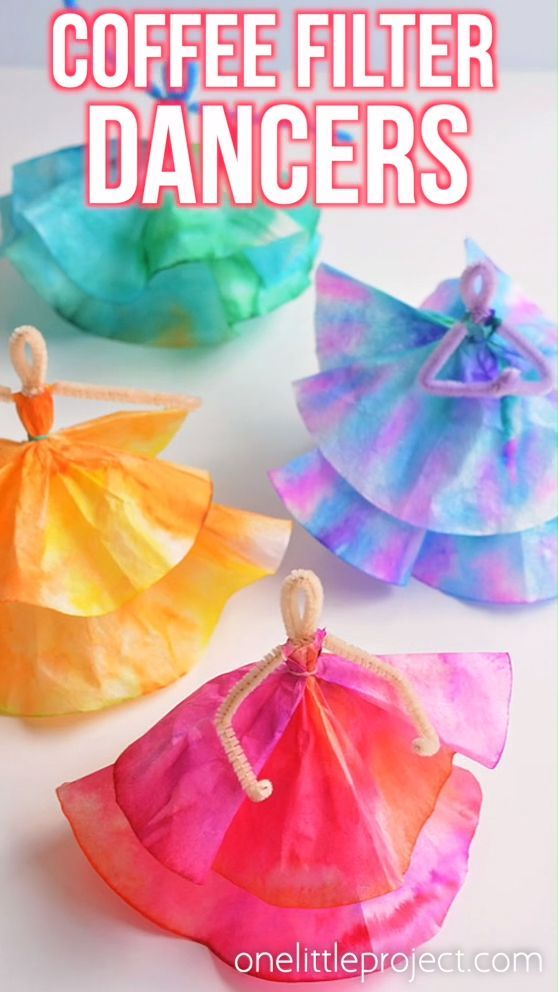 How to Make Coffee Filter Dancers #craftsforkids