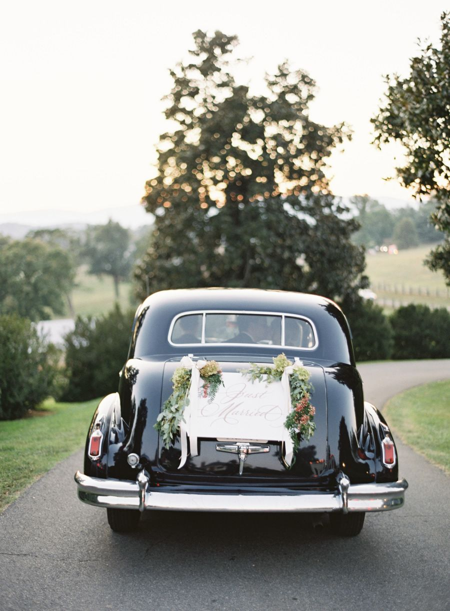 Photography : Jose Villa Photography | Transportation : Albemarle Limousine Read More on SMP: http://www.stylemepretty.com/2015/11/24/at-home-wedding-in-the-blue-ridge-mountains/