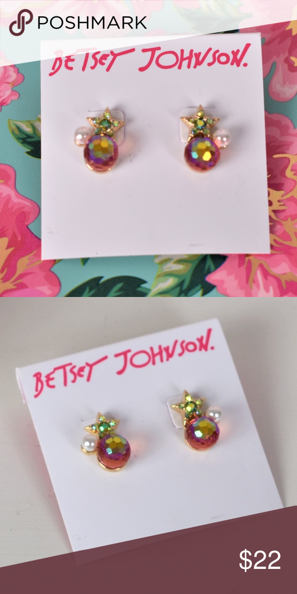 d0acf59ff0daa Betsey Johnson Pink Stone & Star w/ Faux Pearl NWT NWT Studs Betsey ...