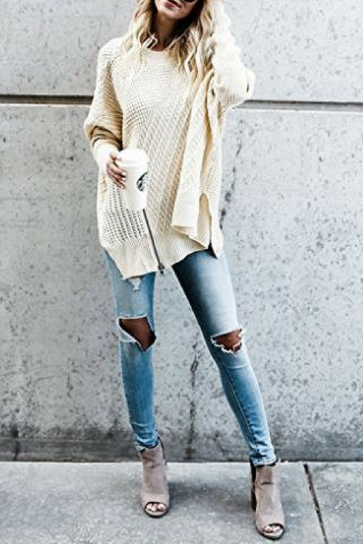 Love this cute casual fall outfit. Sweaters for Women Oversized Pullover  Long Knit Sexy Sleeve Cold Shoulder Warm Winter Solid Color  afflink 2e6df1c3d