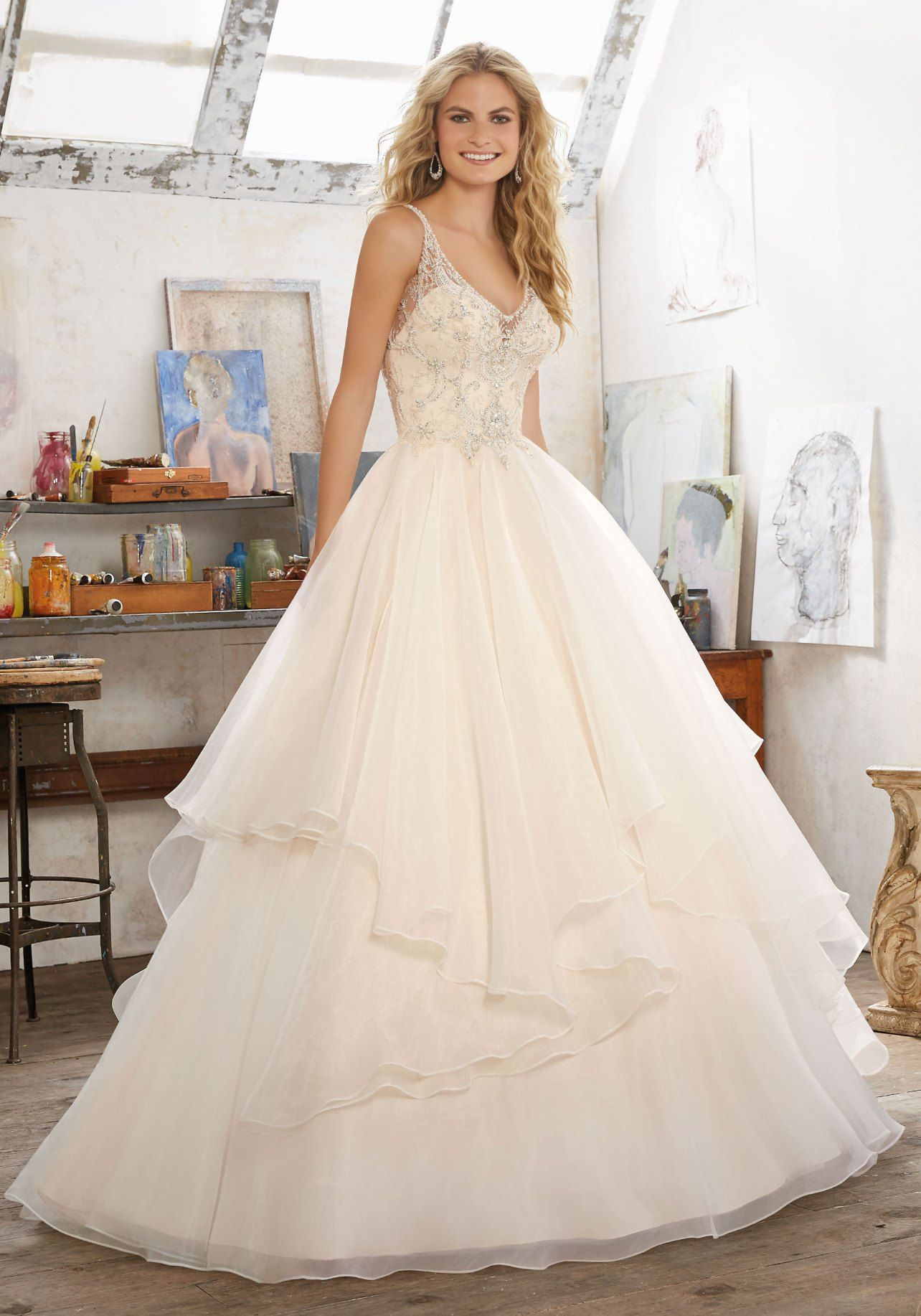 View Dress - Mori Lee Bridal SPRING 2017 Collection: 8105 - Madison - Crystal Beaded Embroidery on Net with Billowy, Flounced Organza Skirt | MoriLee Bridal