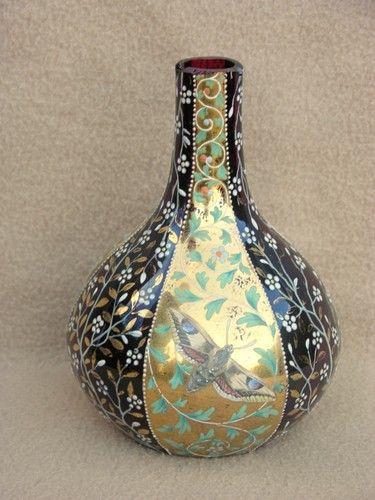 Antique Moser Art Nouveau Bohemian Ruby Glass Vase Hand Enamelled