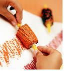 Art- Cut uncooked corn on the cob into smaller chunks. Roll corn in a very thin amount of paint, coating all sides. Roll the corn across the paper to make a cool corn texture patterns. If you have some, use the little pronged corn handles to make it easier to dip and roll.